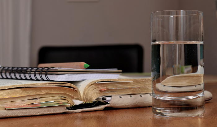 water on desk
